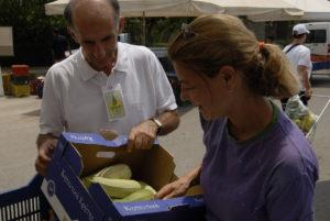 Κάθε εβδομάδα ένας εντεταλμένος του Δήμου ή/και του ιδρύματος παραλαμβάνει δωρεάν από κάθε πάγκο προϊόντα